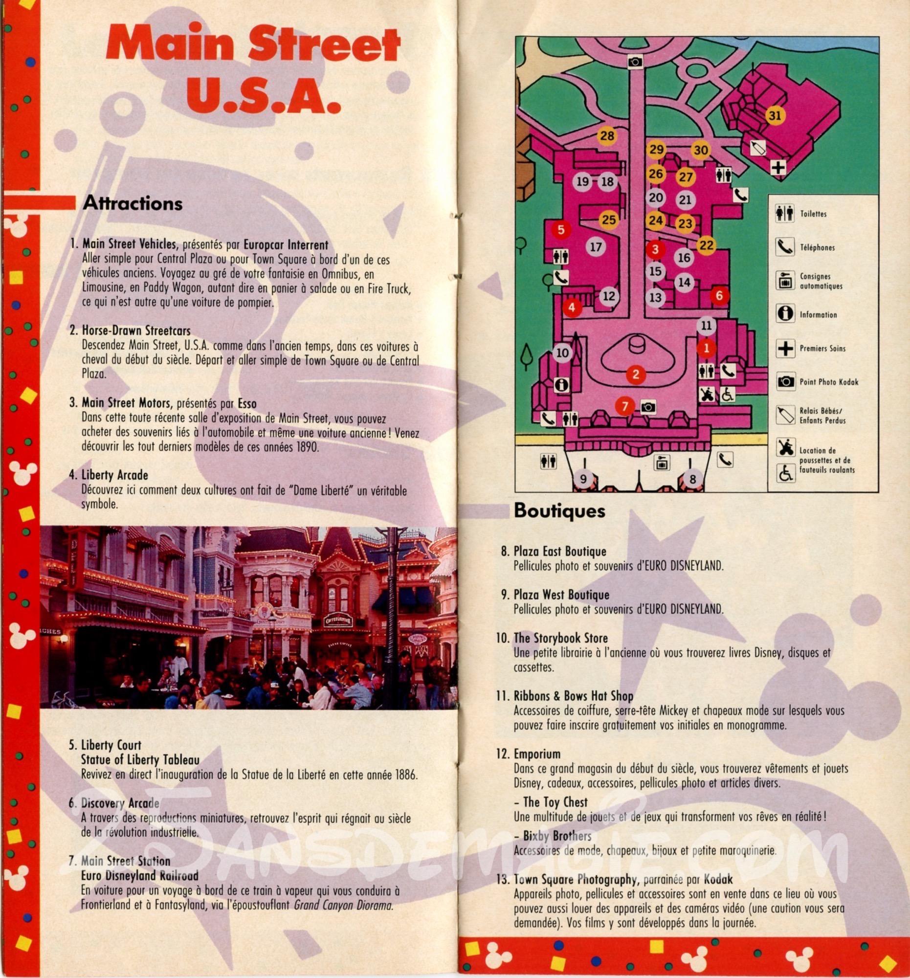1992 le guide des visiteurs original de euro disneyland - Bureau de change disney village ...